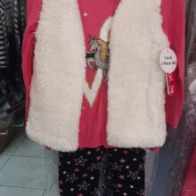 3 Piece Fluffy Girls Vest Set